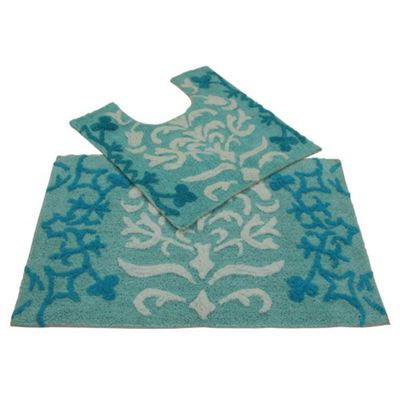 Homescapes Blue Damask Cotton Bath and Pedestal Mat