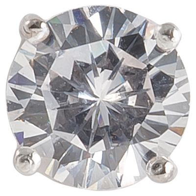 Sterling Silver 10mm Round Cubic Zirconia Single Stud