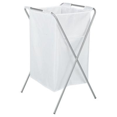 Tesco Folding Laundry Hamper, 100% Polyester White