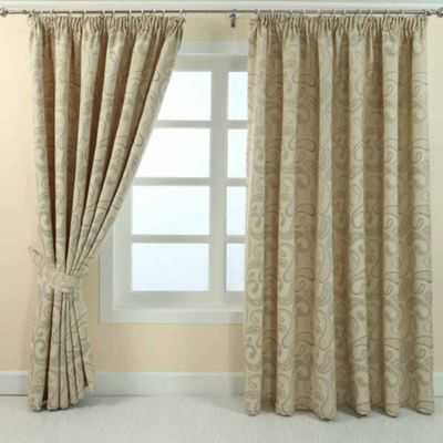 Homescapes Cream Jacquard Curtain Traditional Paisley Design Fully Lined - 90