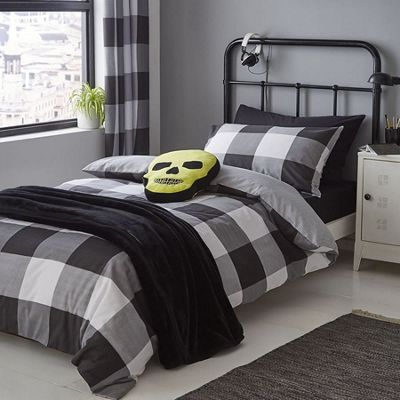Catherine Lansfield Boston Check Easy Care Single Duvet Set Black
