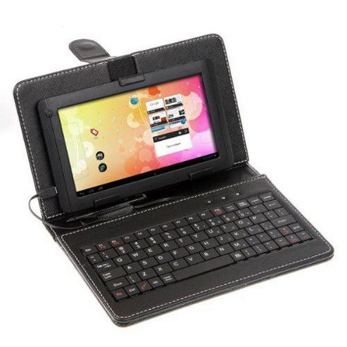 U-bop Horizontal Leather Flip Case with QWERTY Mini Bluetooth Keyboard Black - For Amazon Kindle Fire HD 7 inch