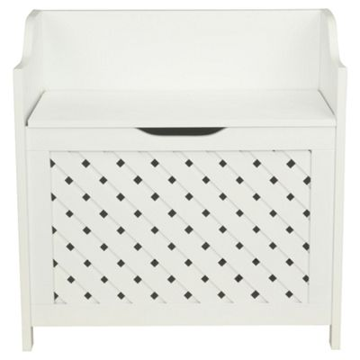 Sheringham Bathroom Wood Weave Storage Box, White Wood