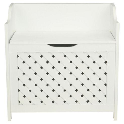 Sheringham Bathroom Wood Weave Storage Box, White Wood