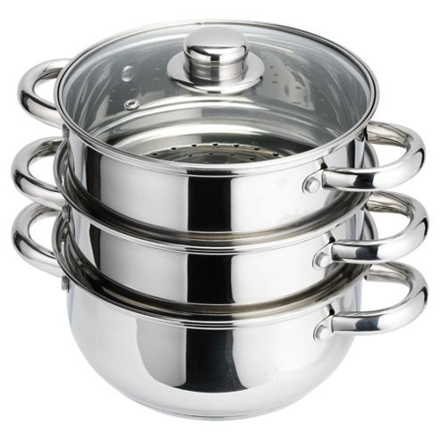 Tesco Cook It 3 Tier Stainless Steel Steamer
