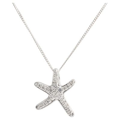 Sterling Silver Cubic Zirconia Starfish Pendants