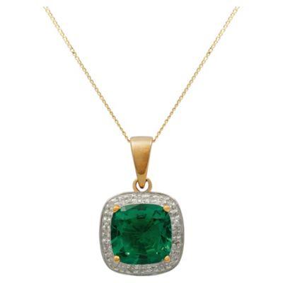 9ct Yellow Gold Created Emerald And Diamond Pendant