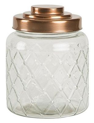 T&G Woodware Fat Lattice Glass Jar with Copper Finish Lid 2.6 Litre