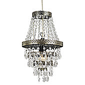 Traditional Brass Easy Fit Pendant Light Shade with Clear Acrylic Decoration