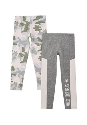 F&F 2 Pack of Camo and Slogan Leggings Multi 12-18 months