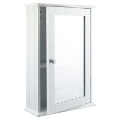 Buy southwold bathroom cabinet single mirror white wood for Bathroom cabinets tesco