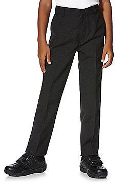 F&F School 2 Pack of Boys Teflon® Flat Front Slim Leg Trousers - Dark grey