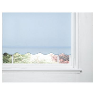 Scalloped Edge Roller Blind, Blue 180Cm