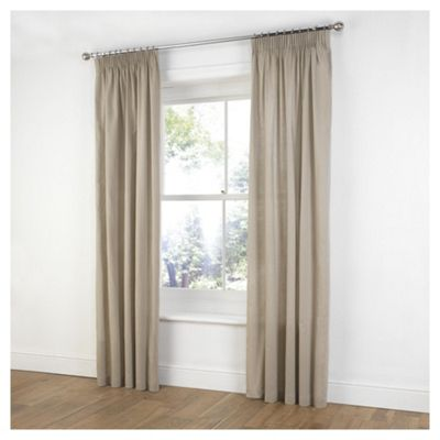 Plain Canvas Pencil Pleat Curtains W168xL229cm (66x90