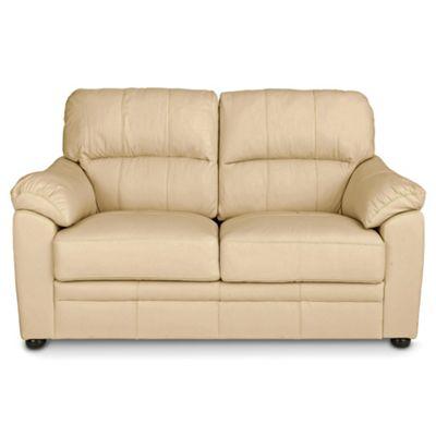 Charmant Valencia Small 2 Seater Leather Sofa, Cream