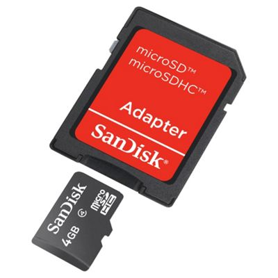 SanDisk microSDHC 4GB Class 4 Card + SD Adapter
