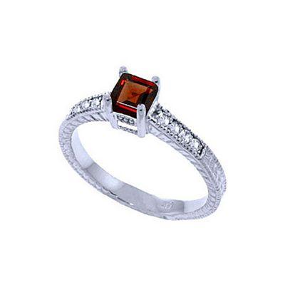 QP Jewellers Diamond & Garnet Ornate Gemstone Ring in 14K White Gold - Size E 1/2
