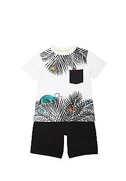 F&F Insect Leaf Print T-Shirt and Shorts Set - White & Black