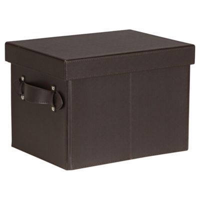 Small Leather Effect Storage Trunk, Brown