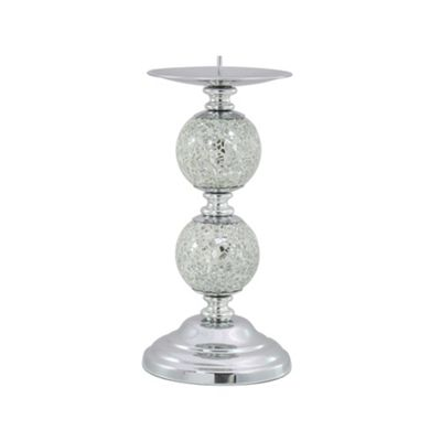 Silver Mosaic Two Ball Candlestick