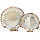 Set of 2 gold and cream clam shell display dishes.