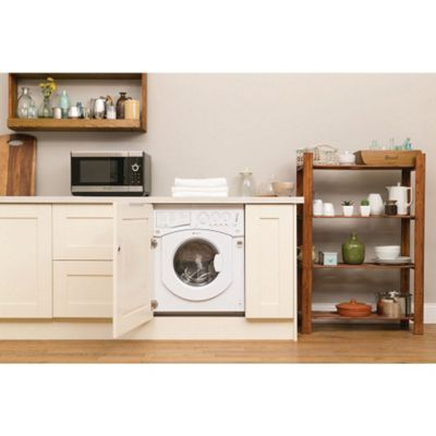 Hotpoint BHWD129 Integrated Washer Dryer, 6kg Wash Load, 1200 RPM Spin, B Energy Rating. White