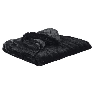 F&F Home Ribbed Faux Fur Throw - Black
