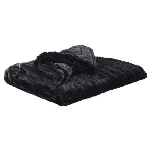 F&F Home Ribbed Faux Fur Throw - Black
