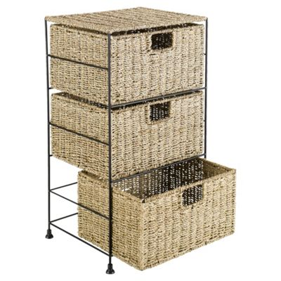 Tesco Seagrass 3 Drawer Storage Tower