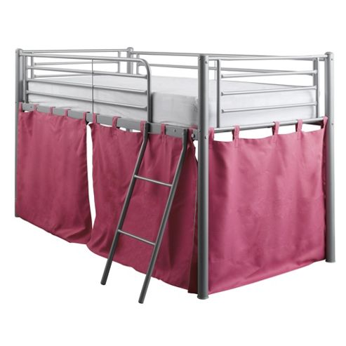Mika Midsleeper Metal Bed Frame with Pink Tent
