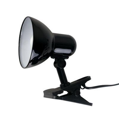 Tasca Adjustable Clip On Table Spotlight Lamp, Gloss Black