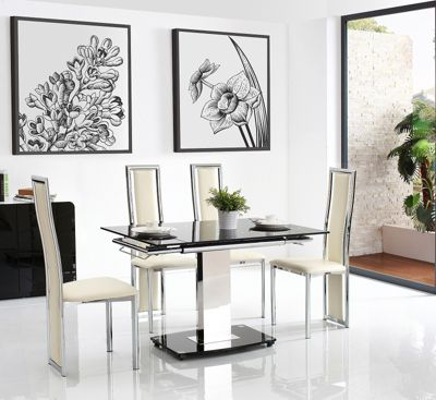 Enzo Black Glass and Stainless Steel Extending 80 - 120 cm Dining Table with 4 Ivory Elsa Chairs
