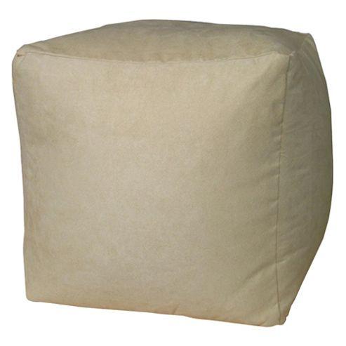 Bean Faux Suede Cube, Beige
