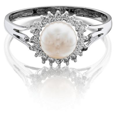 9ct White Gold Pearl And Diamond Cluster Ring, N