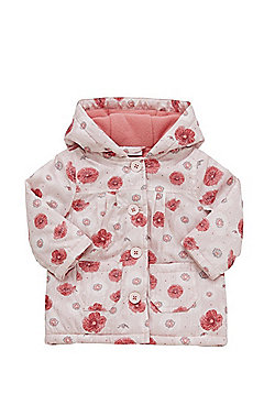 F&F Poppy Print Shower Resistant Hooded Mac - Pink