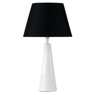 Abbott Cone Shaped Table Lamp, White & Black