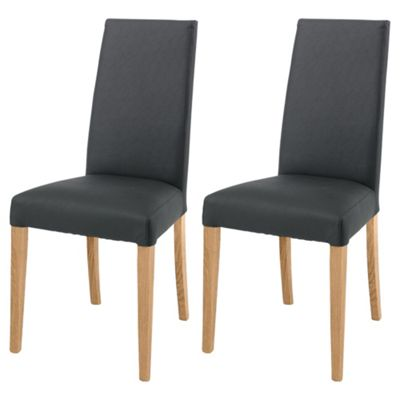 Lucca Pair Of Chairs Oak Legs & Black Leather