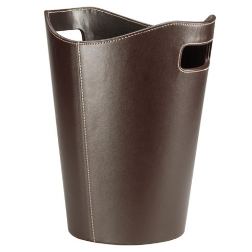 15L Leather Effect Waste Bin, Brown