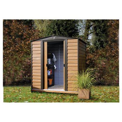 Rowlinson Woodvale Wood Effect Metal Garden Shed, 10x12ft