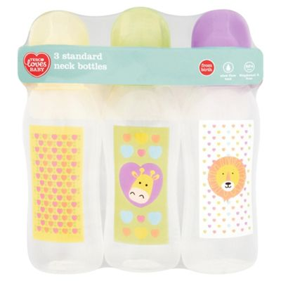 Tesco Standard Feeding Bottles Standard Neck 250ml 3 Pack