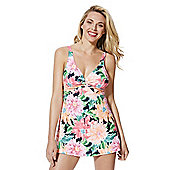 F&F Shaping Swimwear Tropical Floral Print Swim Dress - Multi