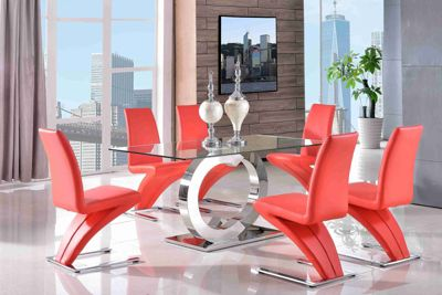 Channel Glass and Polished Stainless Steel 160 cm Dining Table with 4 Red Zed Chairs