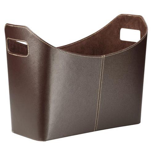 Tesco Leather Effect Magazine Rack, Brown