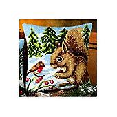 Vervaco Winter Scene Squirrel and Robin Cross Stitch Cushion