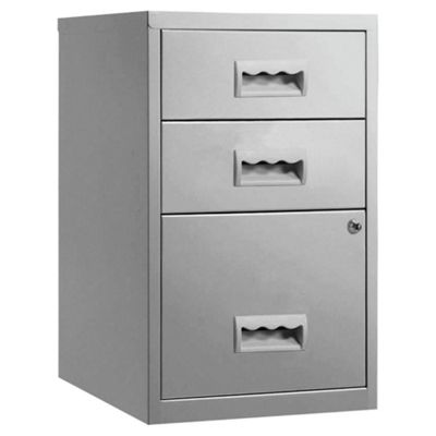 Pierre Henry A4 3 Drawer Combi Filing Cabinet, Silver