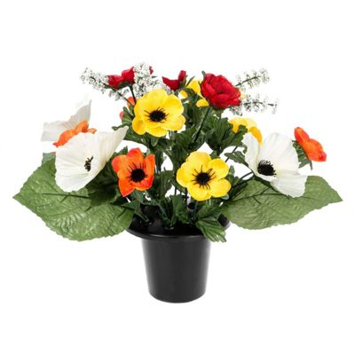 Homescapes Orange and Red Anenome Artificial Flower Arrangement in Grave Vase