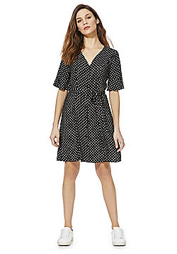 F&F Polka Dot Shirt Dress - Black & White