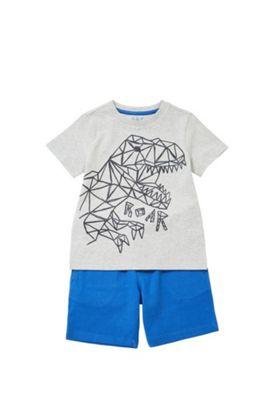 F&F Geometric Dinosaur T-Shirt and Shorts Set Grey/Blue 12-18 months