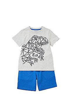 F&F Geometric Dinosaur T-Shirt and Shorts Set - Grey/Blue