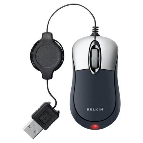 Belkin Retractable Mini Mouse, Silver / Black